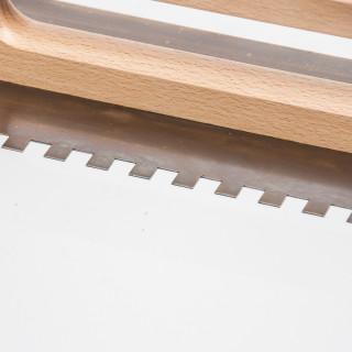 Gleterica Inox, 480x130mm nazubljena 10x10mm drvena drška